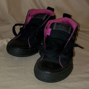 Kids Black with Purple Lining Hightop Converse.
